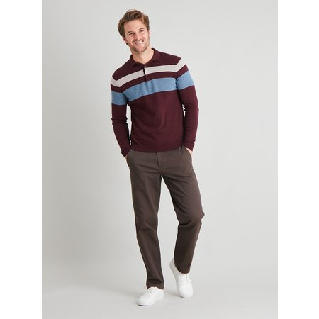 Brown Straight Leg Chinos With Stretch - W32 L30