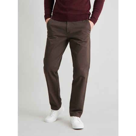 Brown Straight Leg Chinos With Stretch - W36 L32