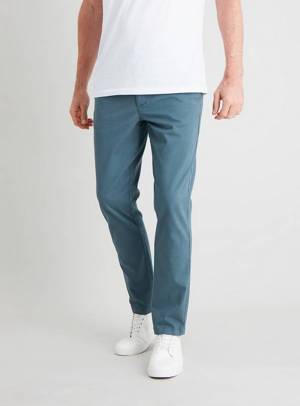 Mallard Blue Slim Fit Chinos With Stretch - W38 L30