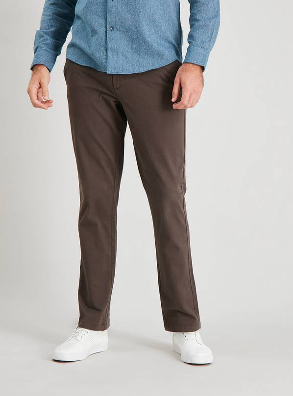 Brown Slim Leg Chinos With Stretch - W34 L34