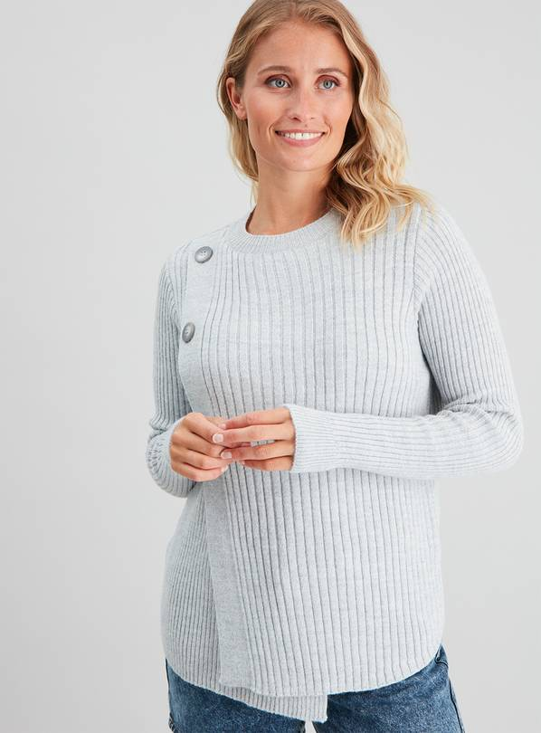 Silver Grey Marl Rib Knit Nursing Jumper - 24