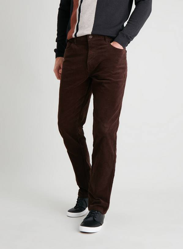 Brown Straight Leg Corduroy Trousers With Stretch - W38 L32