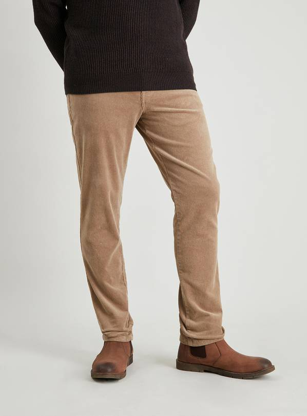 Camel Slim Fit Corduroy Trousers With Stretch - W34 L30