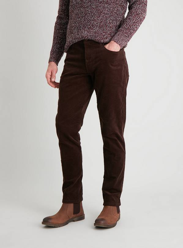 Brown Slim Fit Corduroy Trousers With Stretch - W42 L32