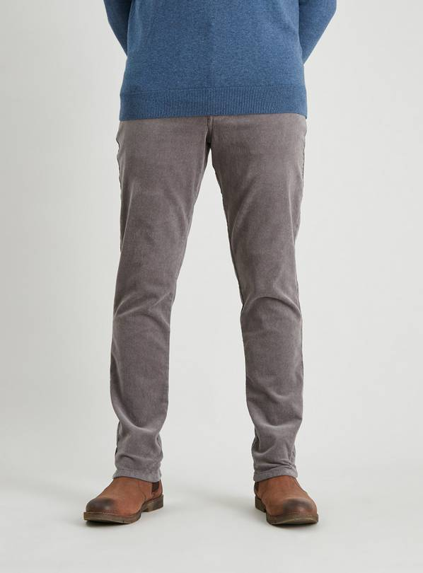 Grey Slim Fit Corduroy Trousers With Stretch - W32 L30