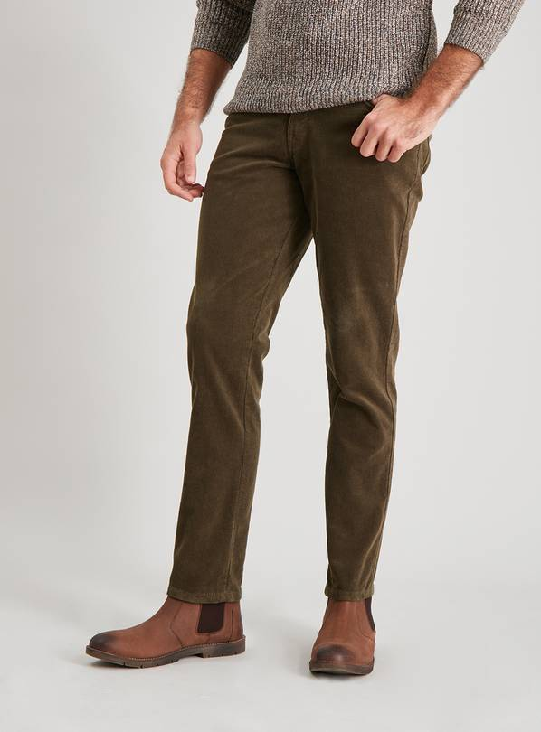 Olive Green Corduroy Slim Fit Trousers With Stretch - W40 L3