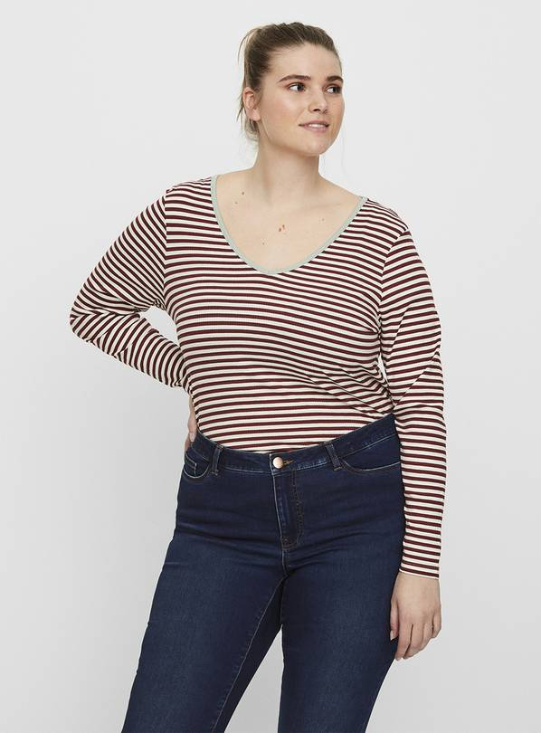 Red Stripe V-Neck Long Sleeve Top - 18-20