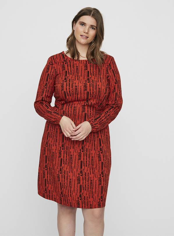 Red Abstract Print Dress - 20