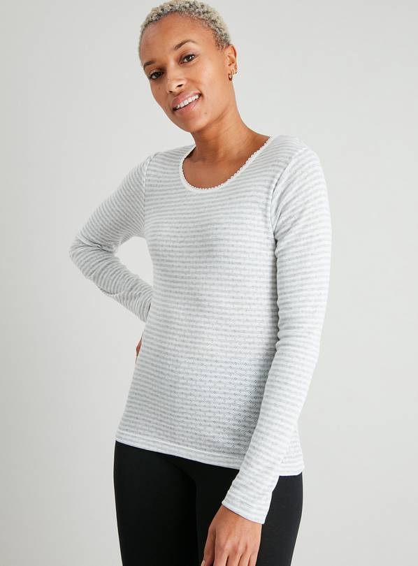 Grey & Cream Pointelle Long Sleeve Thermal Top 2 Pack - 10
