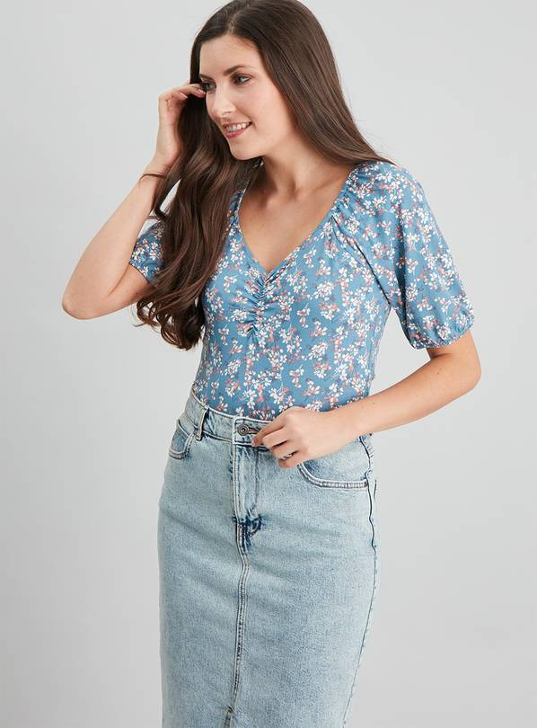 Floral Print Puff Shoulder Top - 22