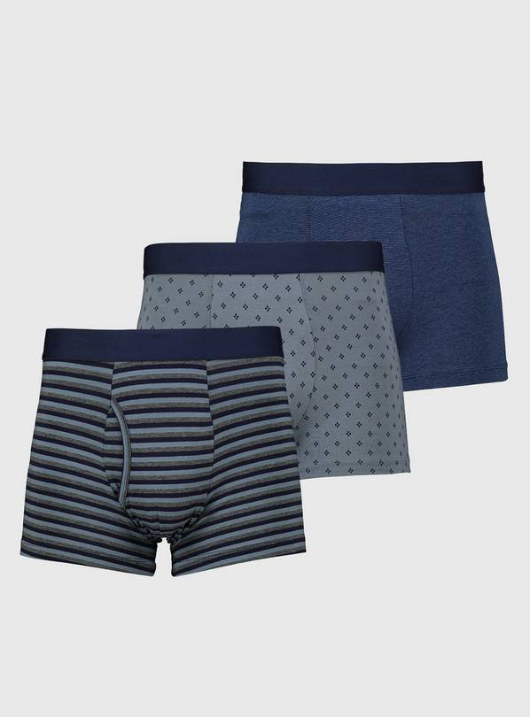 Grey & Blue Stripe & Geo Print Trunks 3 Pack - XS