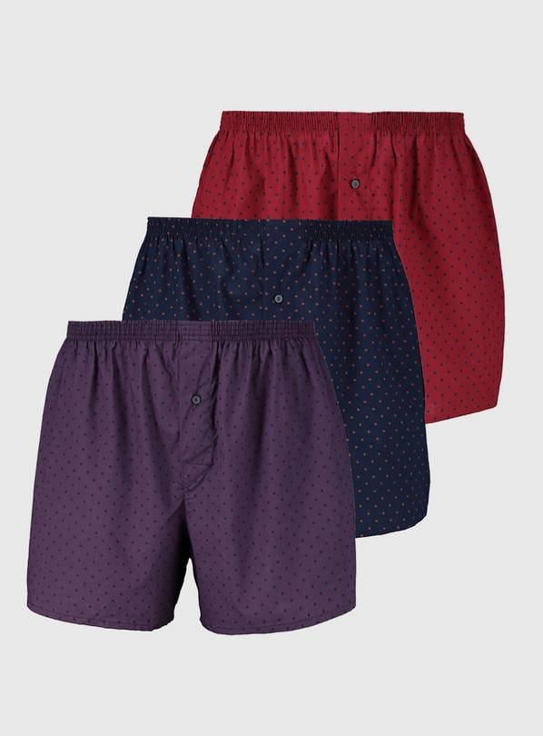 Spotted Woven Boxers 3 Pack - XXXL