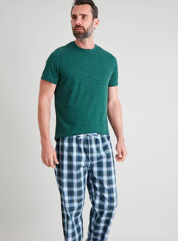 Green & Check Full Length Pyjamas - S