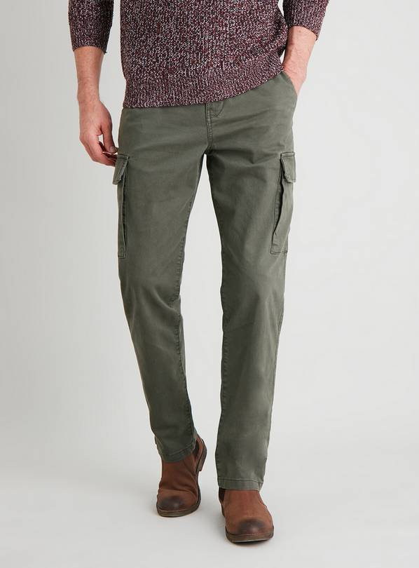Khaki Twill Tapered Leg Cargo Trousers - W38 L34