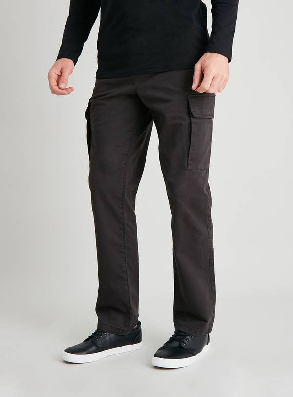 Grey Twill Cargo Trousers - W34 L34