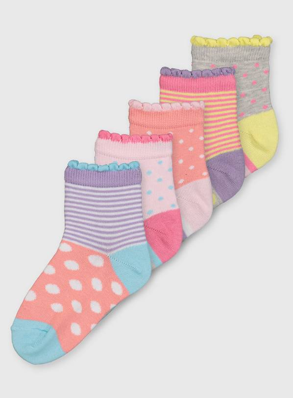 Pastel Spot & Stripe Ankle Sock 5 Pack - 3-5.5
