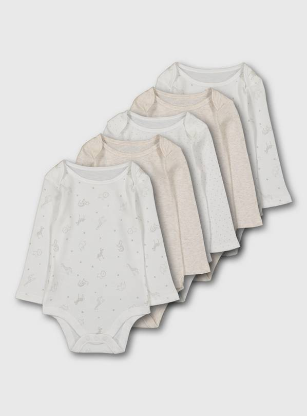 Safari Long Sleeve Bodysuit 5 Pack - 6-9 months
