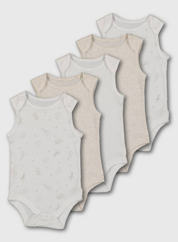 Safari Print Sleeveless Bodysuit 5 Pack - Newborn