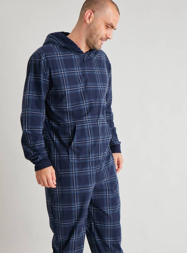 Navy Check Fleece Lounge All In One - L