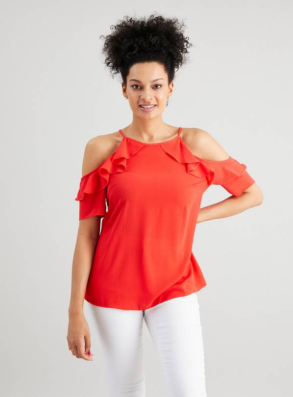 Coral Ruffle Cold Shoulder Blouse - 10