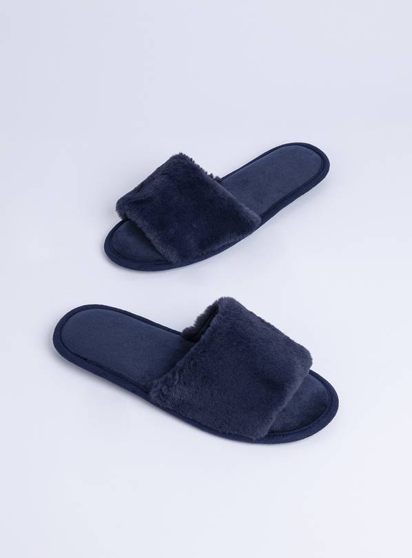 Navy Faux Fur Slider Slippers - M