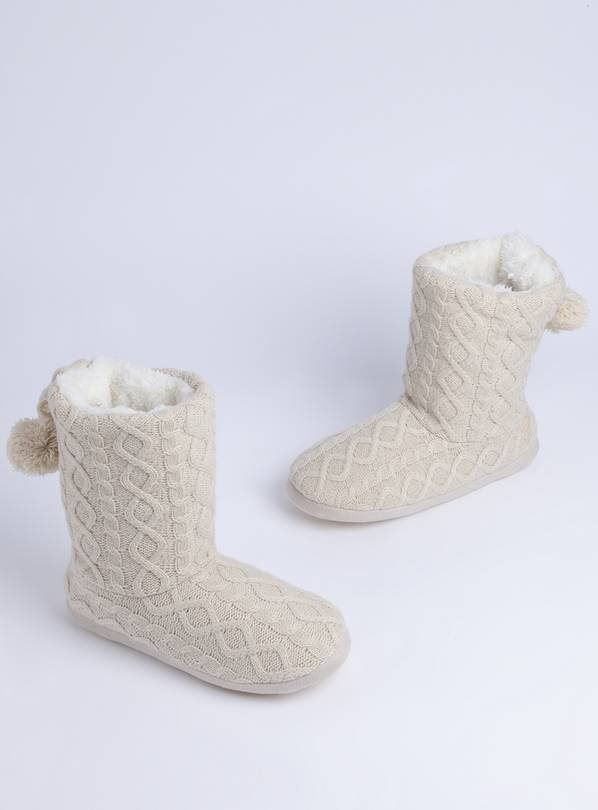 Beige Cable Knit Slipper Boots - M