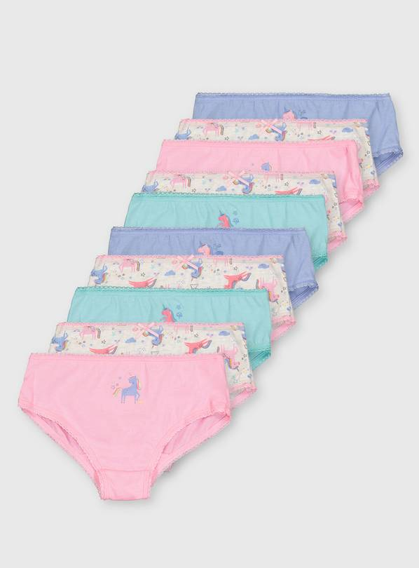 Pastel Unicorn Briefs 10 Pack - 9-10 years