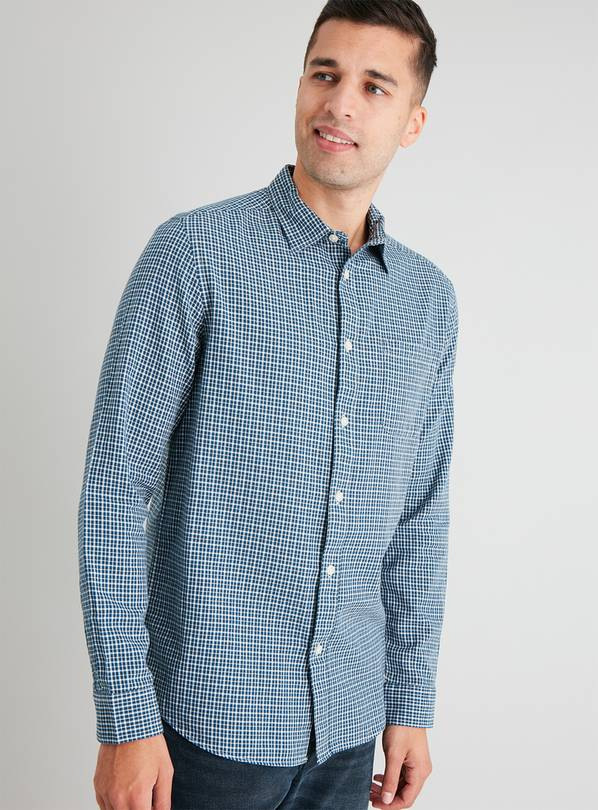 Micro Check Regular Fit Long Sleeve Shirt - XXXXL