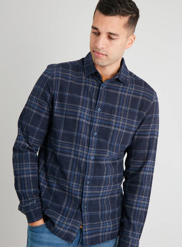 Navy Brushed Check Regular Fit Shirt - S