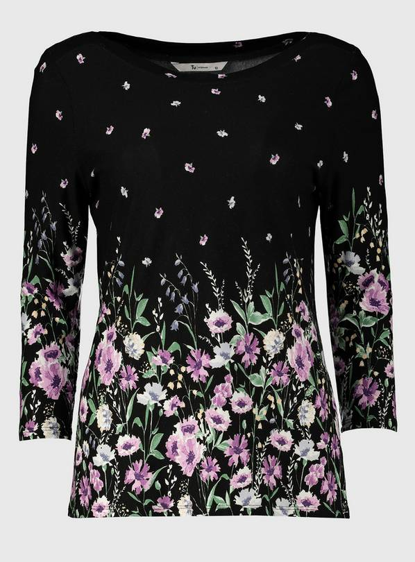 Black Floral Print Long Sleeve Top - 18