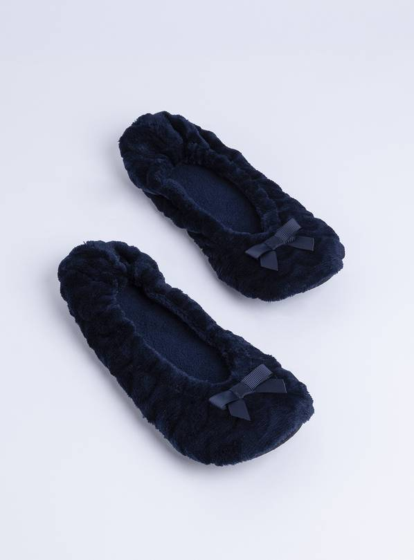 Navy Textured Ballerina Slippers - M