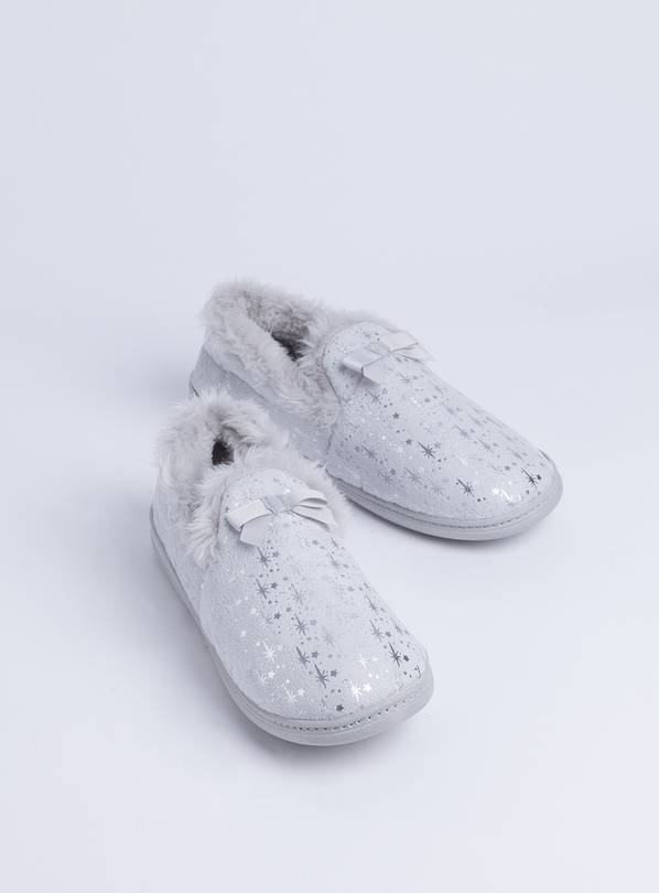 Grey Star Print Full Slippers - 8
