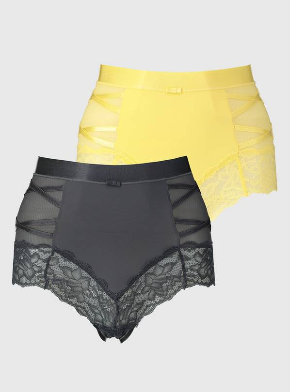 Grey & Yellow Secret Shaping Criss-Cross Knickers 2 Pack - 1