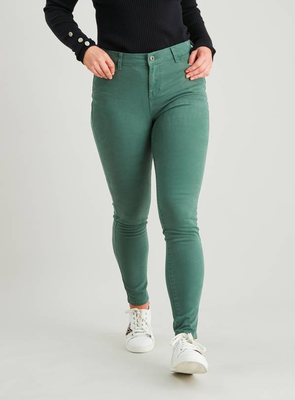 Dark Green Twill Skinny Jeans With Stretch - 16R