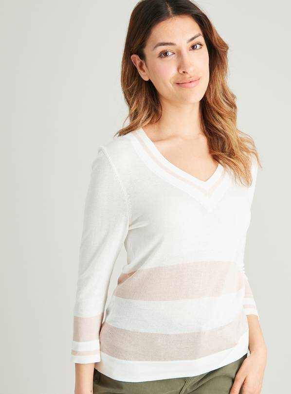 White & Pink Tipped Stripe V-Neck Knitted Top - 18