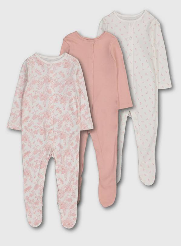 Pink Floral Sleepsuits 3 Pack - 3-6 months
