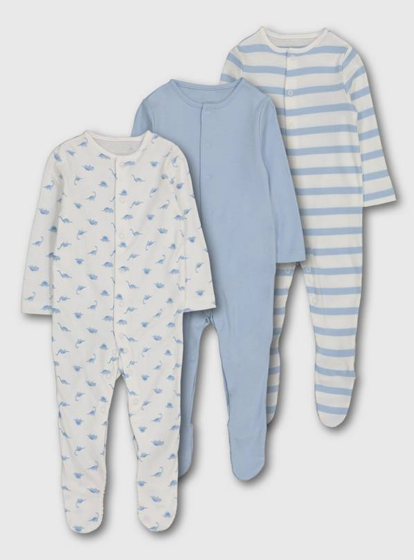 Blue Dinosaur Sleepsuit 3 Pack - Newborn