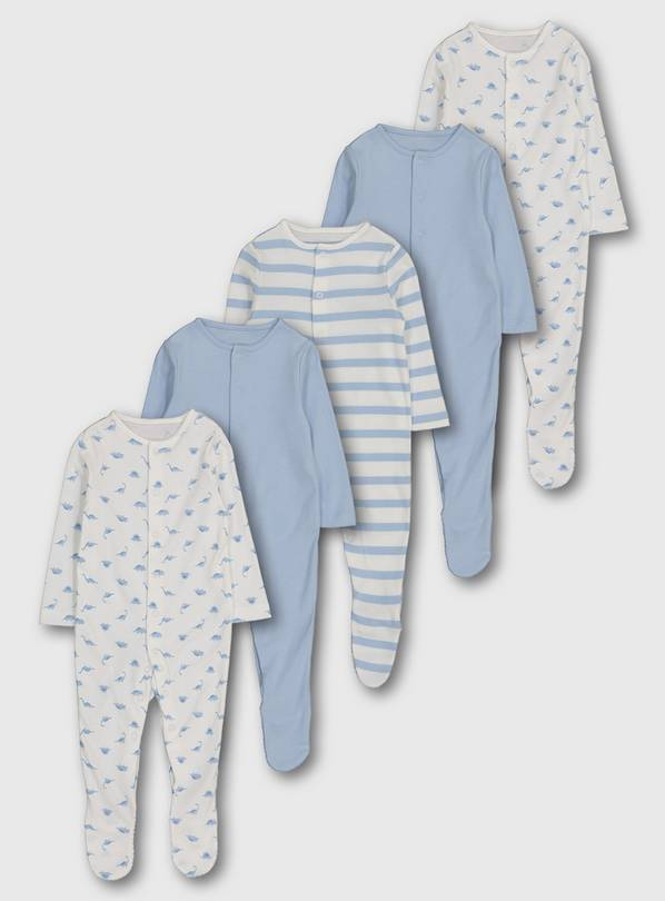 Dinosaur Sleepsuit 5 Pack - Up to 1 mth