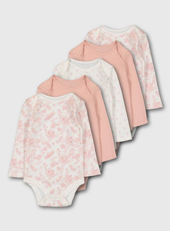 Pink Long Sleeve Bodysuit 5 Pack - 3-6 months