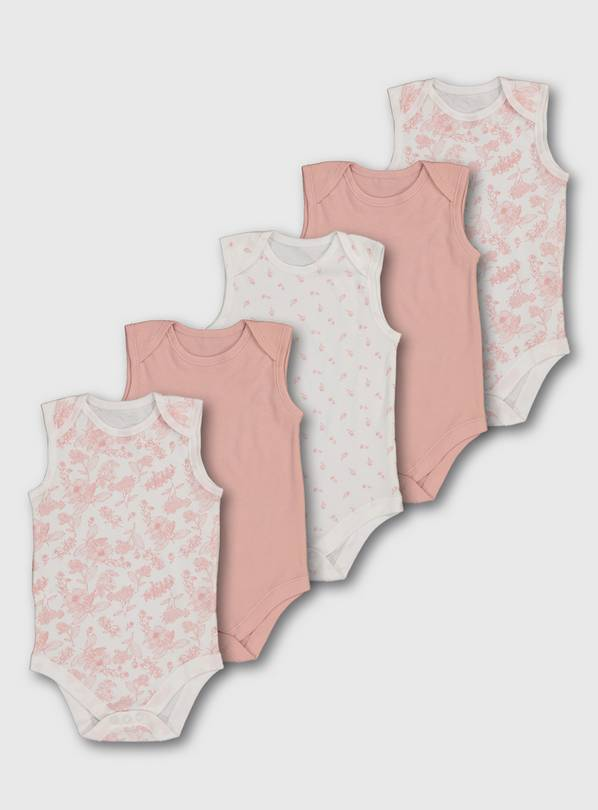 Pink Sleeveless Bodysuits 5 Pack - Up to 3 mths