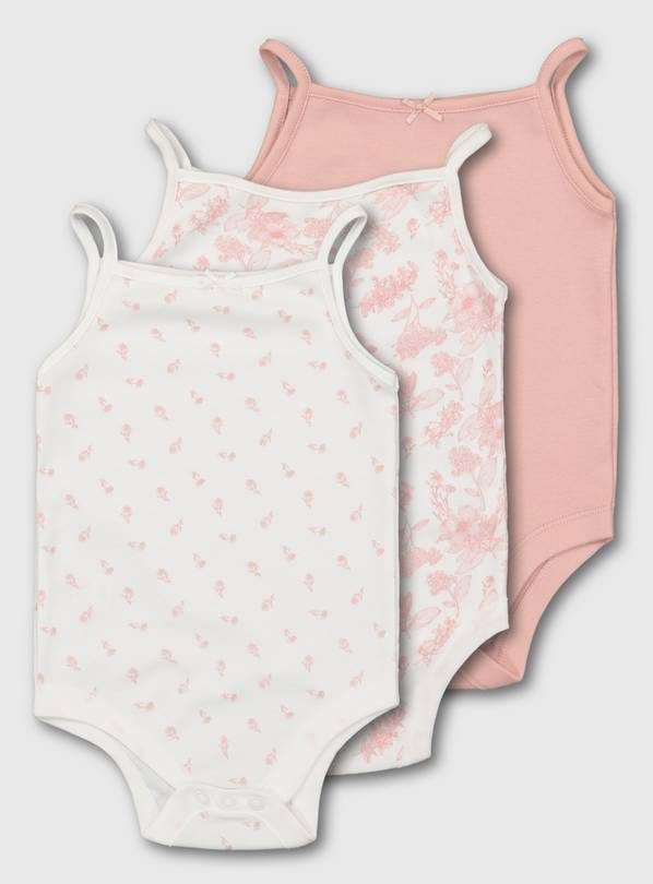 Pink & White Floral Strappy Bodysuit 3 Pack - Up to 3 mths
