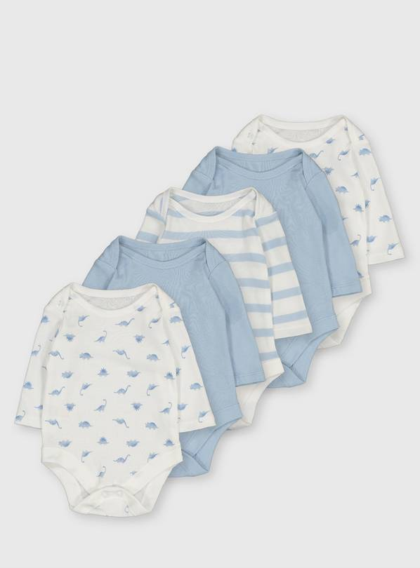 Blue Long Sleeve Bodysuit 5 Pack - Up to 1 mth