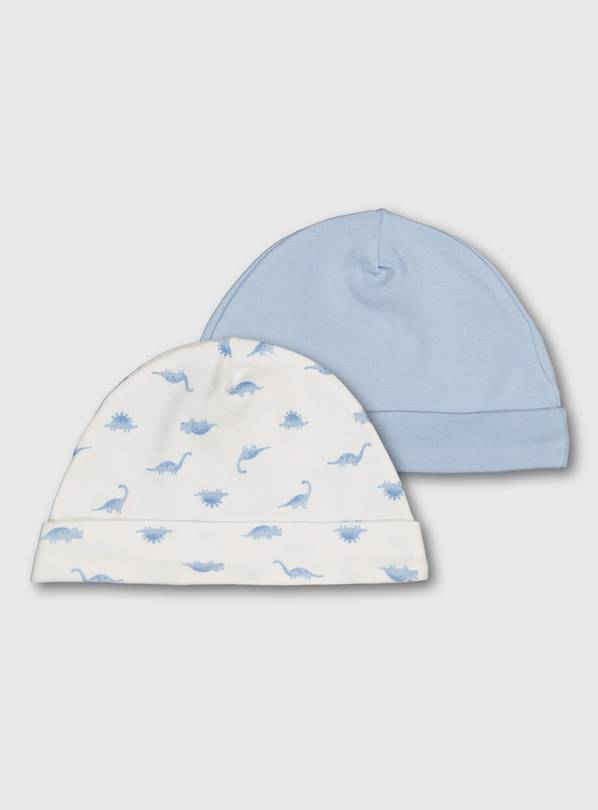 Blue & White Dinosaur Hats 2 Pack - Up to 3 mths