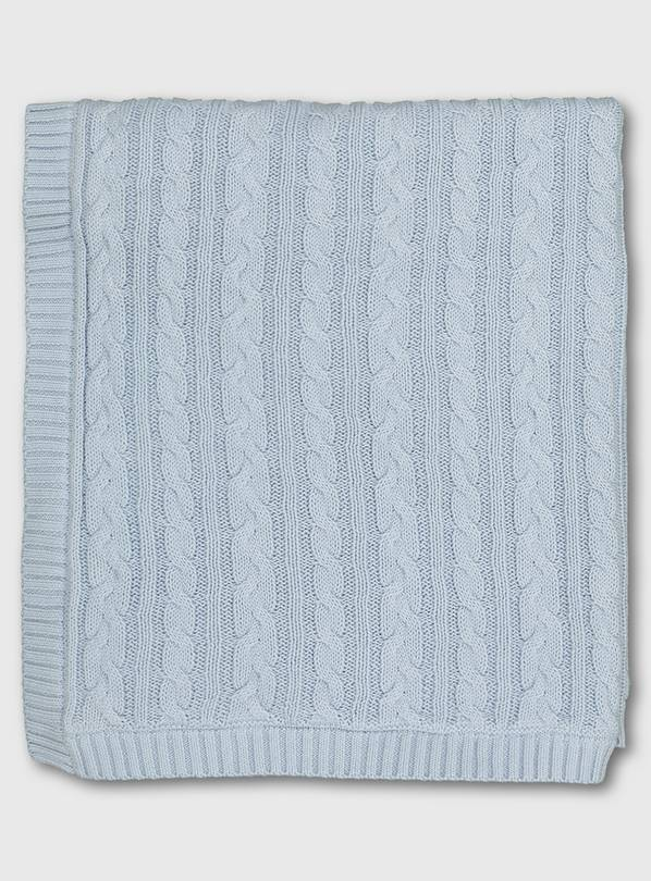 Blue Cable Knit Fleece Lined Blanket - One Size