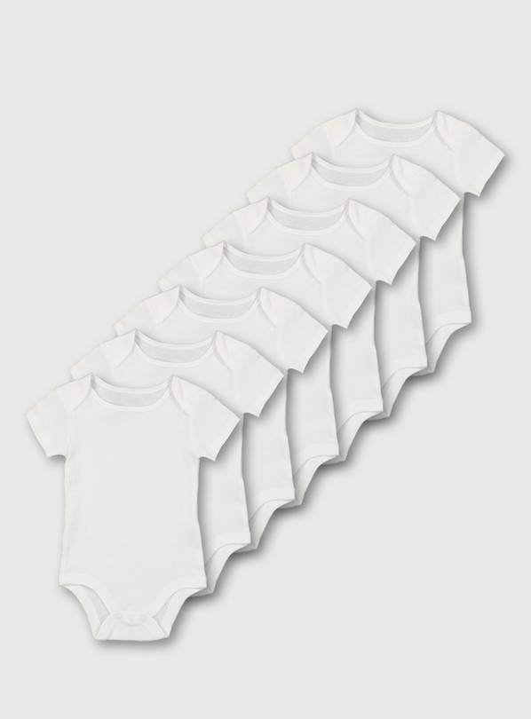 White Short Sleeve Bodysuit 7 Pack - Up to 1 mth