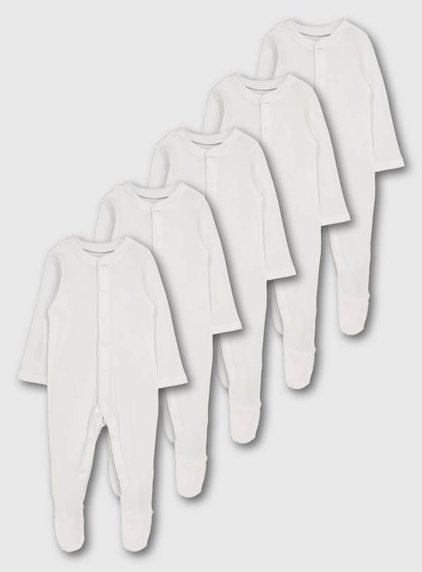 White Sleepsuit 5 Pack - Up to 1 mth