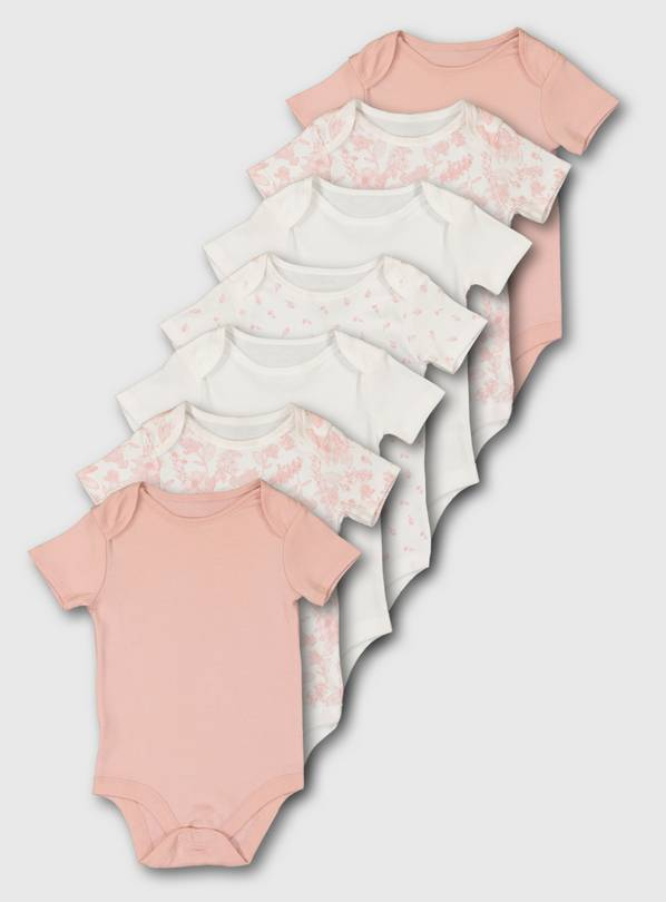 Pink Short Sleeve Bodysuit 7 Pack - 9-12 months