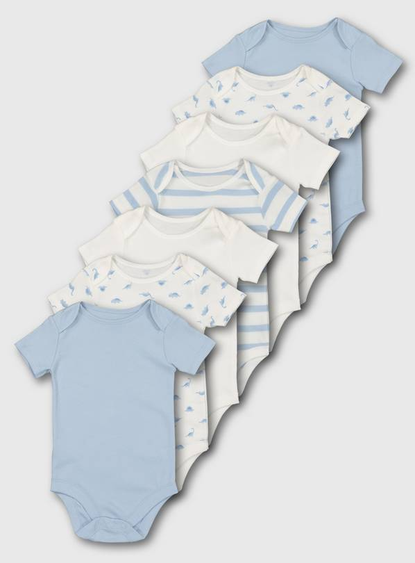 Blue Short Sleeve Bodysuit 7 Pack - Up to 1 mth