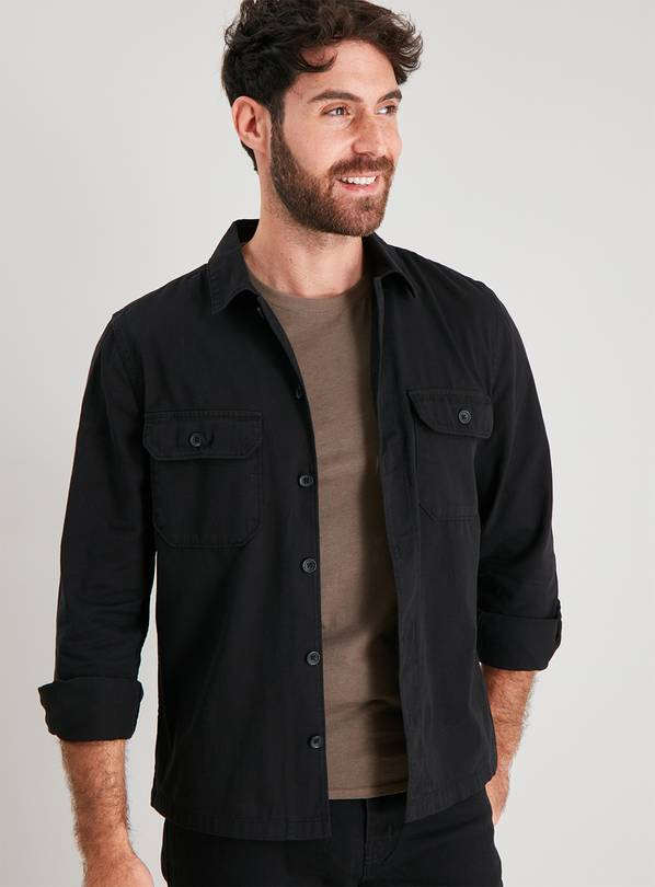 Black Long Sleeve Overshirt - XXXL