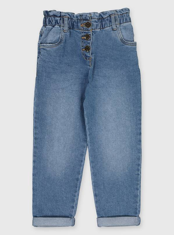 Blue Paperbag Waist Relaxed Fit Jeans - 4 years